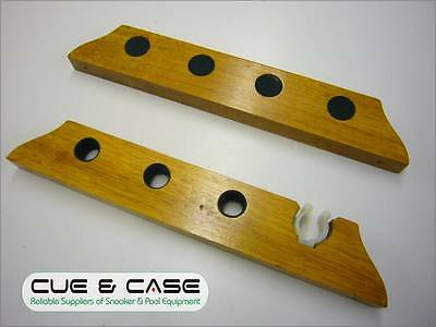 Wall Mounted 4 Way Oak Snooker Cue Rack with Rest Clip