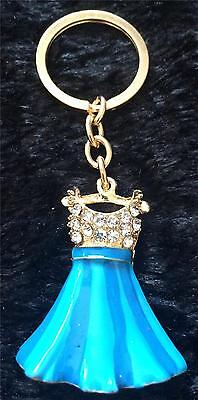 STUNNING BLUE ENAMEL with CRYSTAL DRESS KEY/BAG CHARM NEW IN GIFT BAG