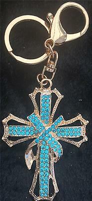 STUNNING LARGE BLUE & CLEAR CRYSTAL CROSS KEYRING/BAG CHARM NEW in GIFT BAG