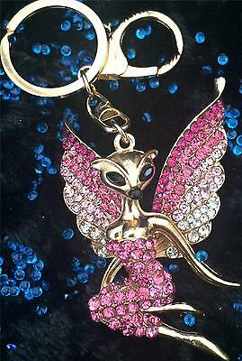 Stunning Large Gold Pink/clear Crystal Angel Fox Key/bag Charm New In Gift Bag