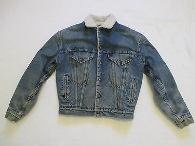 USA Made Vintage Youth Boys Girls XL Levis Denim Blue Jean Sherpa Lined Jacket