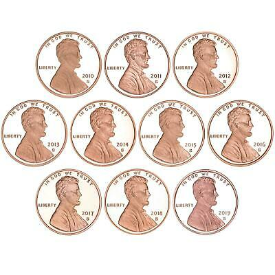 2010-2017 S Lincoln Shield Cent Gem Deep Cameo Proof Run 8 Coin Set US Mint
