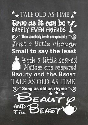 Disney beauty and the beast lyric inspired canvas or print chalkboard  gift