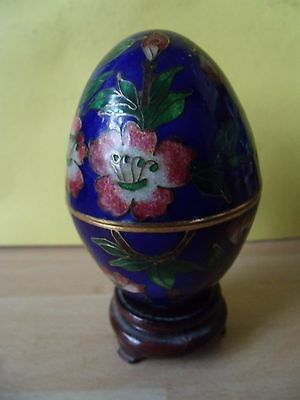 Japanese Cloisonne Egg On Wooden Stand