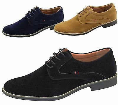 Mens Lace Up Formal Office Shoes Wedding Casual Flat Smart Suede Dress Shoes