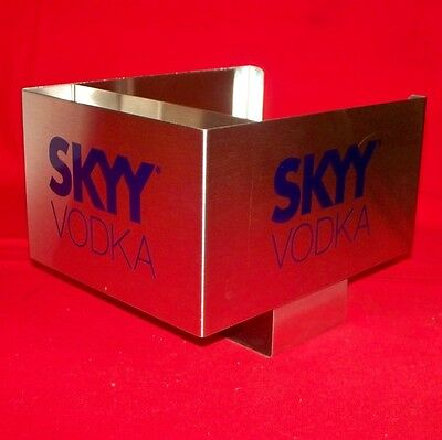 SKYY Vodka Stainless Steel Bar Caddy Swizzle Stick Napkin Holders - New
