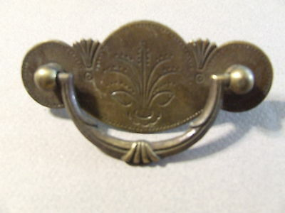 """Antique Vintage Drawer Pull Brass Floral  2 1/2"""" Space (Sd3 90)"""