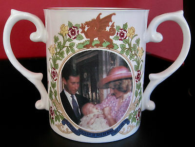 Prince William Christening Loving Cup with Prince Charles & Diana - Caverswall