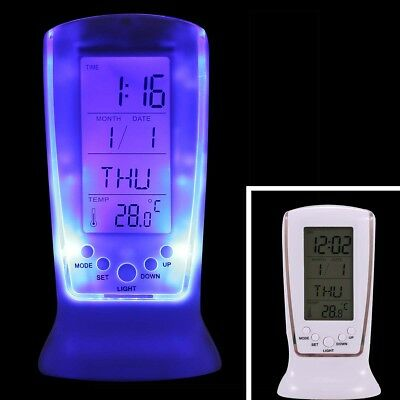 Digital Backlight LED Display Table Alarm Clock Snooze Thermometer Calendar New