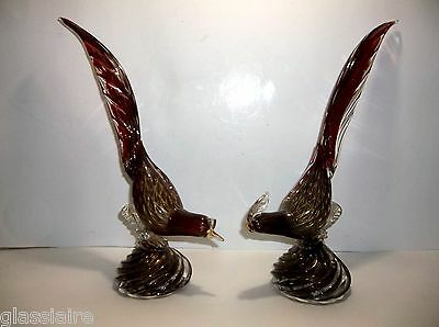 "Vintage SEGUSO MURANO Art Glass PHEASANTS Ruby Red GOLD AVENTURINE 13"" Set Of 2"