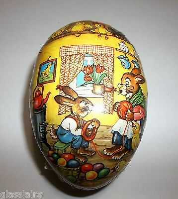 Antique German Paper Mache EGG Candy Container BUNNIES CHICKS Easter Eggs