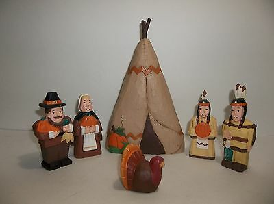 Midwest Of Cannon Falls EDDIE WALKER Thanksgiving PILGRIMS Turkey Set 6 Pieces