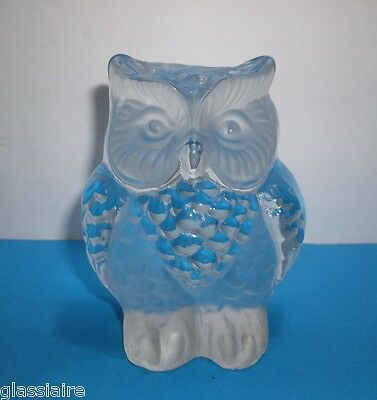 Vintage Viking Art Glass OWL Sculpture PAPERWEIGHT Crystal Clear 4.25""