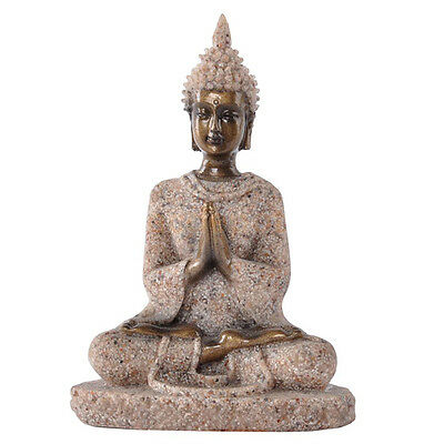 1 Pc Sculpture Handmade Sandstone Meditation Buddha Statue Home Exotic Decor