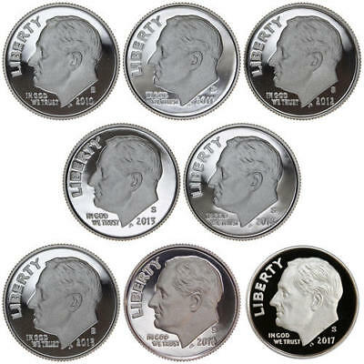 2010-2017 S Roosevelt Dime Gem DCam Proof Run 8 Coin Set US Mint Lot