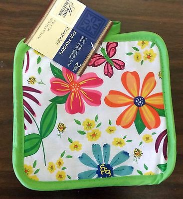 """RARE Set of 2 Printed POT HOLDERS, 7"""" x 7"""", FLOWERS, with bright green color"""