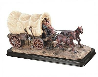 "12"" Inch Wide Wagon w/ Horses Cowboy Statue Western Figurine Country Figure"