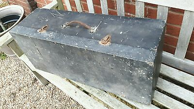 Nice old black wooden toolbox with original leather handle
