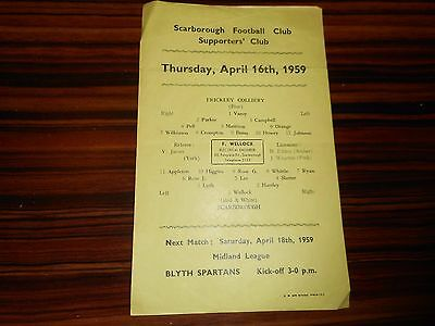 SCARBOROUGH  v  FRICKLEY COLLIERY  1958/9  ~ APRIL 16th S/SHEET ***FREE POST***
