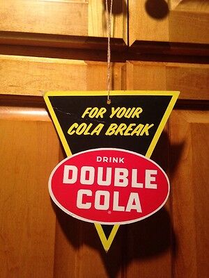Original Double Cola Diecut Soda Pop Advertising Store Display Sign Two Sided