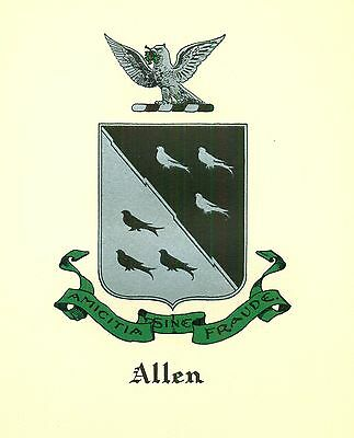 *Great Coat of Arms Allen (#3)  Family Crest genealogy, would look great framed!