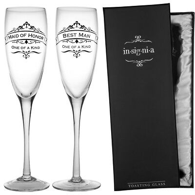 2pc Wedding Champagne Flute 11oz Glasses Set Maid Of Honor & Best Man By Enesco