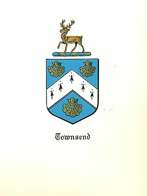 *Great Coat of Arms Townsend Family Crest genealogy, would look great framed!