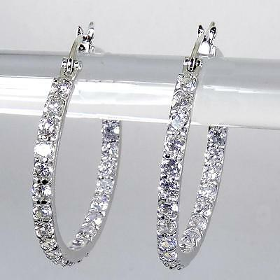18K White Gold Plated Clear Crystal CZ Inside Outside Round Hoop Earrings 1 1/8""