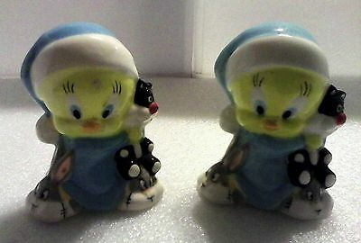 Vintage Tweety  Bird Salt& Pepper With  Sylvester Doll And Buggs Bunny Slippers