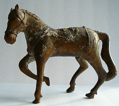 Antique Vintage Cambodian Primitive Folk Art Brass Bronze Horse Sculpture Statue