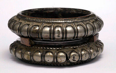 Antique ethnic silver and copper pair of bracelets, Rajasthan North India 1890's