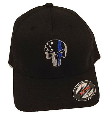 THIN BLUE LINE PUNISHER AMERICAN FLAG FLEXFIT HAT cap fitted police officer 50286611e88