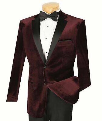 Men's Burgundy Velvet Slim Fit Tuxedo Suit w/ Sateen Lapel & Trim NEW Prom