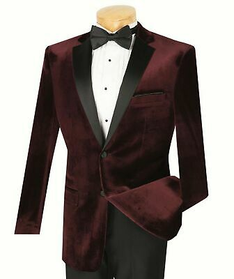Vinci Men's Burgundy Velvet Slim-Fit Tuxedo Suit w/ Sateen Lapel & Trim NEW