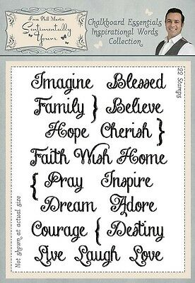 Phill Martin Chalkboard Essentials INSPIRATIONAL WORDS  A5 Clear Stamp Set