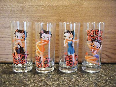 4 Betty Boop Tall Juice Water Glasses Collectible House-Ware Gift Men / Women