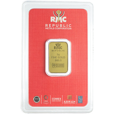 Daily Deal - 5 Gram RMC Republic Metals .9999 Fine Gold Bar in Assay