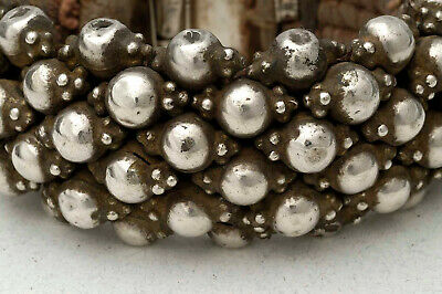 Old ethnic silver on cotton bracelet from rural Rajasthan, India 1950's