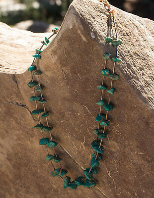 Vintage Native American Sterling Silver Turquoise Stone Bead Necklace