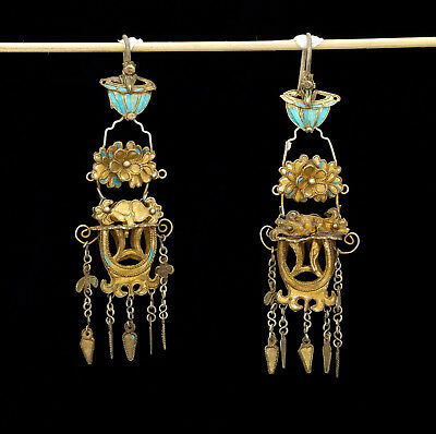 Antique traditional silver gilded Earrings from China 1900 approx.