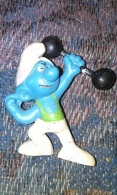 Smurf with Weights Dumbell plastic figure toy