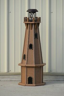 """32"""" Octagon, Solar Powered Poly Lumber Wood Looking Lighthouse, Antique Mahogany"""