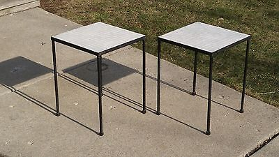 Mid Century Modern 1950's Italian Mosaic Glass Side Tables Stands