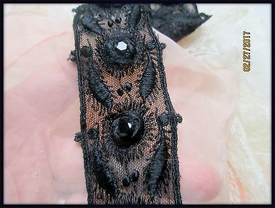 Antique French Dense Embroidered Jet Glass Beaded Dimensional Lace Tulle Trim