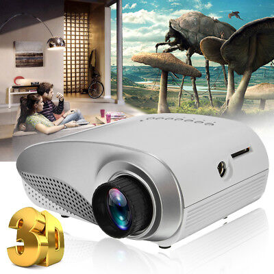 3D Portable 1080P HD LED Mini Projector Multimedia Home Theater USB VGA HDMI AV