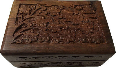 """Handcrafted Wood Altar Box with Floral Design 4"""" x 6"""" Wicca Pagan Karma Keepers"""