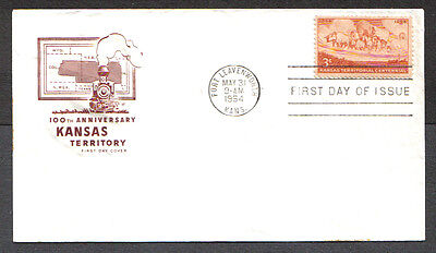Us Fdc 1954 Kansas Territorial Centennial 3C Hf Cachet First Day Cover Fort Lev