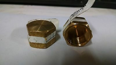 """*NOS LOT OF 2*  1/2"""" NPT Brass Pipe Cap FEMALE Pipe Fitting  P138"""