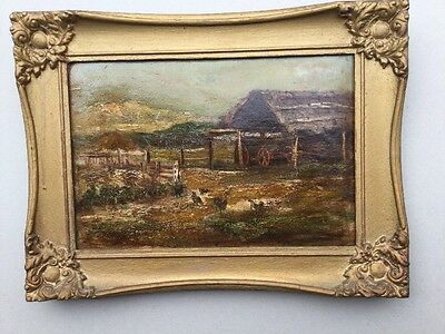 Circa 1890s   Farm Scene Oil Painting Framed