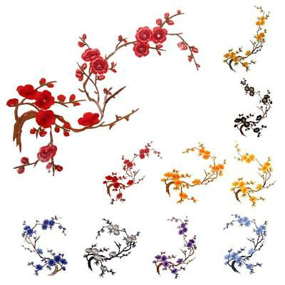 Hot DIY Plum Blossom Elegant Style Flower Embroidery Iron On Applique Patch